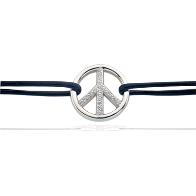 Bracelet peace and love-or blanc